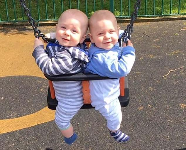 Ms Skull, who is mother to twin boys Luca and Zack (pictured), was reprimanded when a fellow diner complained about her changing her son outside the Farmhouse Cafe in Guildford