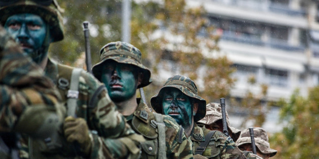 "THESSALONIKI, GREECE - 2017/10/28: Greek special unit seen during the military parade. Military Parade for the celebration of WWII National Anniversary of ""28th October 1940"". (Photo by Giorgos Zachos/SOPA Images/LightRocket via Getty Images)"